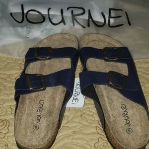 JOURNEI FOOTBED SANDALS SIZE 8 navy NWT